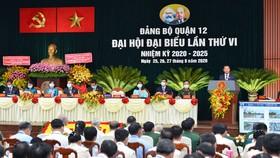 Quang cảnh Đại hội đại biểu Đảng bộ quận 12 lần thứ VI, nhiệm kỳ 2020-2025. Ảnh: VIỆT DŨNG