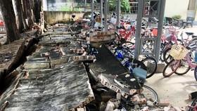 Khu vực tường đổ tại Trường tiểu học Trần Quốc Toản.