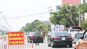 Một chốt kiểm soát dịch tại thị xã Điện Bàn (tỉnh Quảng Nam) giáp ranh với TP Đà Nẵng