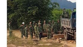 Lực lượng chức năng thu giữ nhiều khối gỗ lậu được cất giấu trong rừng sâu