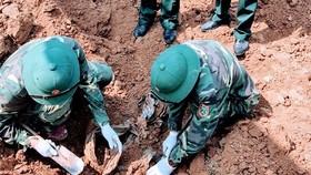 Khu vực phát hiện và quy tập được 2 hài cốt liệt sĩ tại thôn Quật Xá, xã Cam Thành, huyện Cam Lộ. Ảnh: TÀI TUYẾN