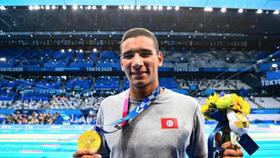 Ahmed Hafnaoiu đoạt tấm HCV nội dung 400m tự do tại Olympic Tokyo 2020. Ảnh: AFP