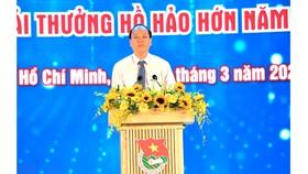 Phó Bí thư Thành ủy TPHCM Nguyễn Hồ Hải phát biểu tại Lễ kỷ niệm 90 năm ngày Thành lập Đoàn Thanh niên Cộng sản Hồ Chí Minh. Ảnh: VIỆT DŨNG