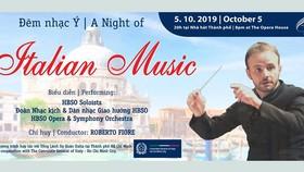 Đêm nhạc Italy sẽ diễn ra tại Nhà hát Thành phố vào tối 5-10-2019.