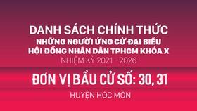 Đơn vị bầu cử số: 30, 31 (huyện Hóc Môn)
