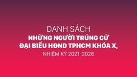 Danh sách những người trúng cử đại biểu HĐND TPHCM khóa X, nhiệm kỳ 2021-2026