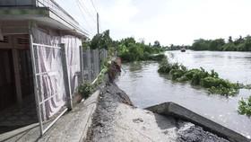 Sạt lở nghiêm trọng tại xã Cẩm Sơn khiến một đoạn đường chìm xuống sông Ba Rài