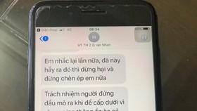 Tin nhắn dọa dùng xăng xử lãnh đạo phòng giáo dục của bà Nhạn