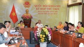 Đoàn Đại biểu Quốc hội TPHCM họp trực tuyến tại kỳ họp thứ 9 Quốc hội khóa XIV sáng 21-5. Ảnh: VIỆT DŨNG