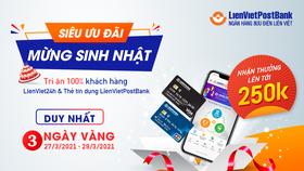 Tặng 100.000 đồng cho khách hàng kích hoạt thẻ tín dụng trên LienViet24h