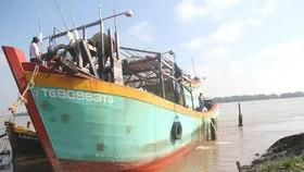Tàu cá TG 90983TS đang neo đậu tại Vàm Láng, Gò Công