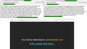 Ảnh chụp màn hình mẫu e-mail spam và cửa sổ bật lên