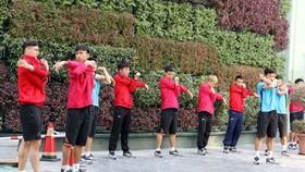 Đội tuyển Việt Nam khởi động nhẹ trong ngày đầu đến Qatar. Ảnh: Đoàn Nhật
