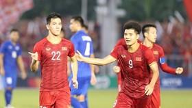 Tiến Linh, tác giả 2 bàn thắng giúp Việt Nam tiễn Thái Lan về nước sớm ở SEA Games 30. Ảnh: DŨNG PHƯƠNG
