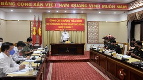 Phó Thủ tướng Thường trực Chính phủ Trương Hoà Bình làm việc với Bộ Tư lệnh Quân khu 7 chiều 31-5