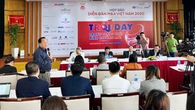 "The press conference on the Vietnam M&A Forum 2020 with the theme ""Rising in a new normal state"". (Photo: SGGP)"
