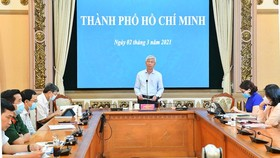 Vice Chairman of the People's Committee of Ho Chi Minh City Vo Van Hoan speaks at the Government's meeting. (Photo: SGGP)