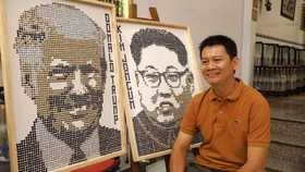 Người vẽ chân dung Tổng thống Donald Trump và Chủ tịch Kim Jong-un bằng… ốc vít