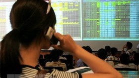 An investor watches stock fluctuations at the Bao Viet security company (Photo: VNA)