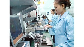 Employees are working at Datalogic Scanning Vietnam LLC in the Saigon Hi-Tech Park. (Photo: SGGP)