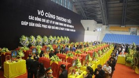 A memorial service for 22 soldiers who were buried in a landslide in Quang Tri Province is held on October 22. (Photo: SGG)