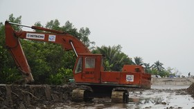 The path leading to Rach Mieu ferry is under construction