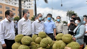 Vice Chairman of the HCMC People's Committee Ngo Minh Chau leads a delegation to inspect the epidemic prevention and control work at Hoc Mon Agricultural Wholesale Market. (Photo: SGGP)