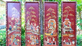 The collection of four lacquer paintings of Truyen Kieu (Tale of Kieu)
