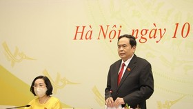 Standing Vice Chairman of the NA and Standing Vice Chairman of the NEC Tran Thanh Man speaks at the event (Photo: VNA)