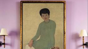 Oil painting entitled Portrait de Mademoiselle Phuong (Portrait of Mademoiselle Phuong) by painter Mai Trung Thu