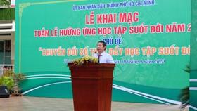 Phó Chủ tịch UBND TPHCM Dương Anh Đức phát biểu tại lễ khai mạc. Ảnh: THU TÂM