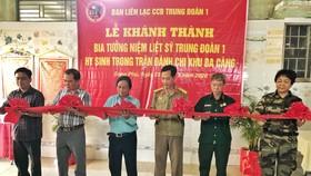 Khánh thành Bia tưởng niệm liệt sĩ Trung đoàn 1 hy sinh trong trận đánh chi khu Ba Càng