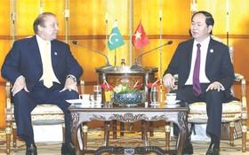 國家主席陳大光會見巴基斯坦總理謝里夫。(圖源:紅藍)