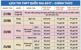 圖為2017年全國高考時間表。(圖源:互聯網)
