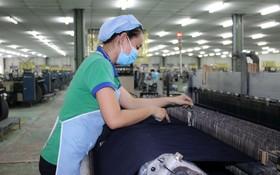 華人企業越鴻紡織製衣公司的生產線。(圖源:曉東)