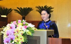 國會主席阮氏金銀致開幕詞。(圖源:VOV)