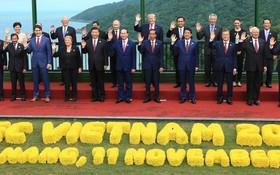 APEC各領導人在峴港合影。(圖源:路透社)