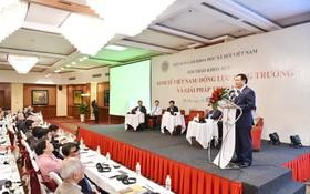 """政府副總理王廷惠在""""增長動力與促進措施""""科研會上發表演講。(圖源:日北)"""