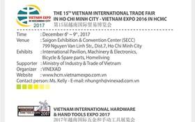 """""""越交會""""(Vietnam Expo)和""""越南五金與手工工具國際展""""(Vietnam Hardware & Handtools Expo)將於12月6至12日在第七郡西貢會展中心舉辦。(圖源:Vinexad網站截圖)"""