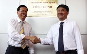 原越南油氣集團(PVN)總經理馮廷實(左)與丁羅昇。(圖源:PVME)