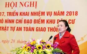 越南祖國陣線中央委員會副主席張氏玉映在會議上發表講話。(圖源:光榮)