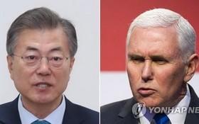 韓國總統文在寅(左)和美國副總統彭斯。(圖源:韓聯社)