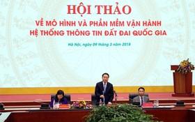 源與環境部長陳紅河(中)在研討會上發言。(圖源:姜中)