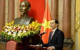 國家主席陳大光在會議上發表講話。(圖源:VOV)