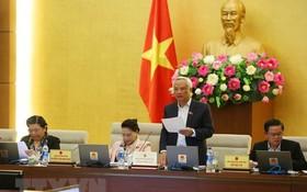 國會副主席汪周琉主持會議並發表演講。(圖源:楊江)