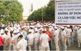 越南Nidec Sankyo 有限責任公司約1000名工人聚集在公司門前罷工。(圖源:勞動者報)