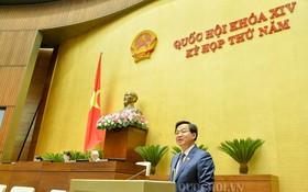 政府總監察長黎明概在會議上發言。(圖源:Quochoi.vn)