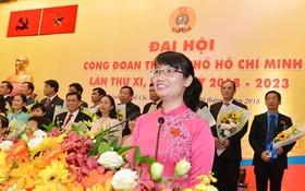 市勞動聯團主席陳氏妙翠在會上發言。(圖源:越勇)
