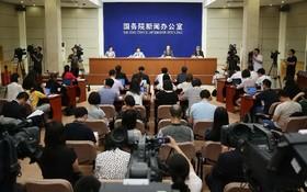 第十五屆中國-東盟博覽會、中國-東盟商務與投資峰會新聞發佈會現場。