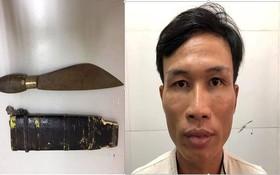 被抓獲的劫匪陳文友與行劫刀器。(圖源:勞動者報)